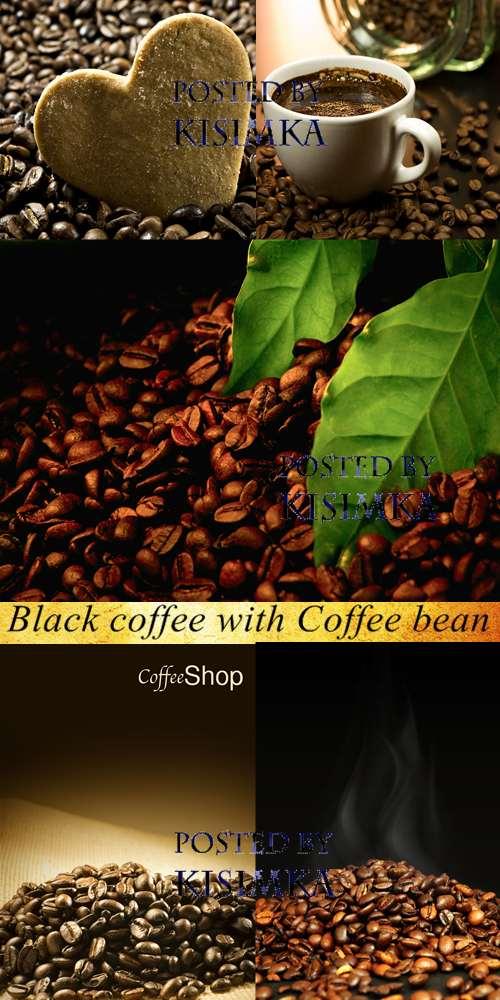Stock Photo: Black coffee with Coffee bean (кофе)