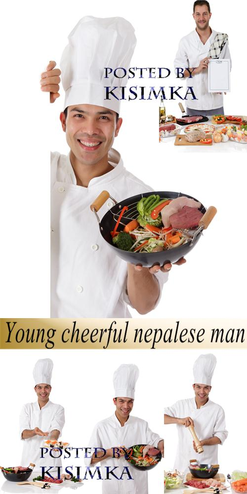 Stock Photo: Young cheerful nepalese man