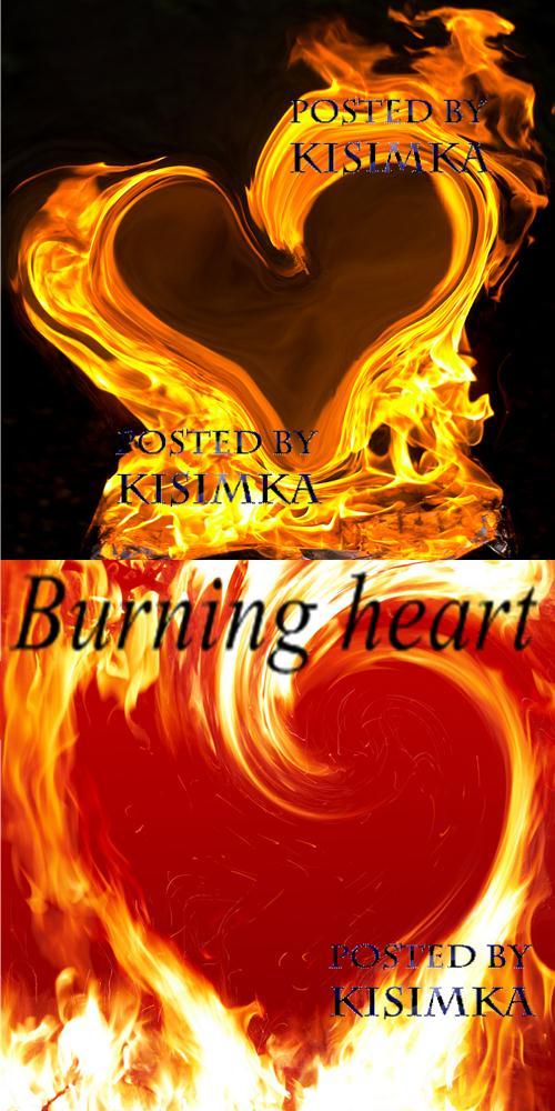 Stock Photo: Burning heart background