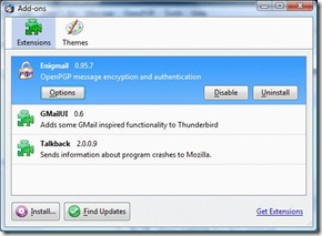 Thunderbird addons- add the Enigmail plugin