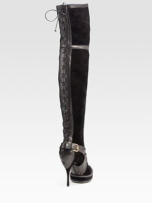 DIOR - Intrigante Over-The-Knee Suede & Leather Boots - 1256