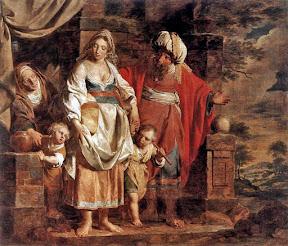 Hagar en Ishmael verdreven door Abraham