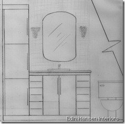 illustrating the vanity and linen tower I designed for the bathroom