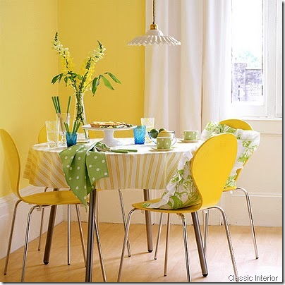 Yellow dining room classic interior