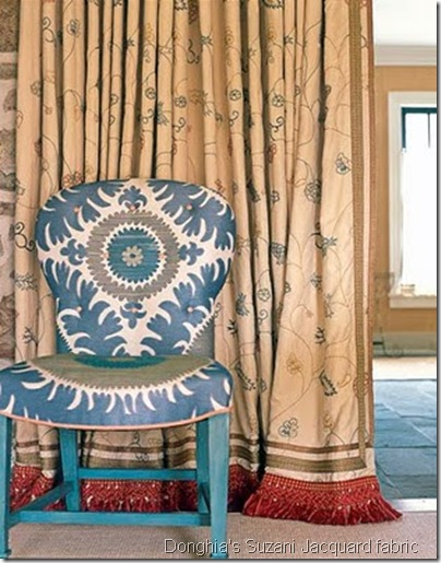 Donghia&#39;s Suzani Jacquard fabric in Blue Bliss - Jeffery Bilhuber