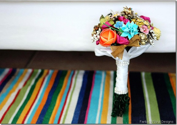 fantasy-florals-brooch-bridal-bouquets-vintage-chic-colorful-vibrant wedding-pictures onewed