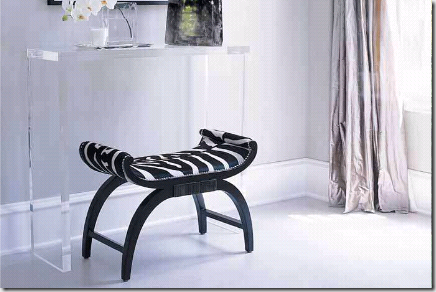 zebra ell decor bench