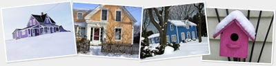 View Colourful Houses in Snow