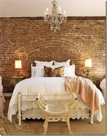 bedroom brick wall country living