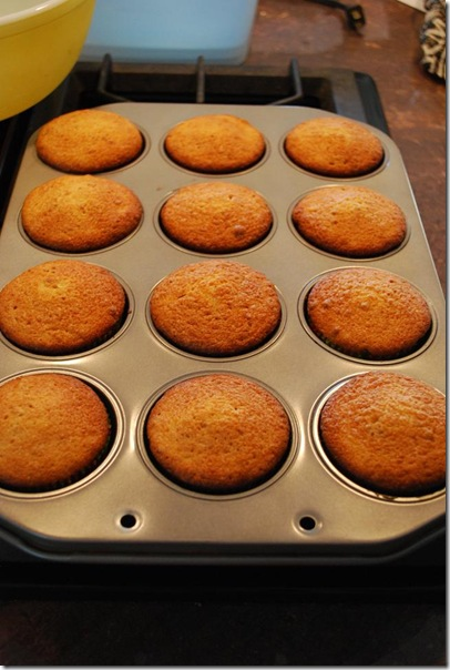 25 cupcakes out of oven