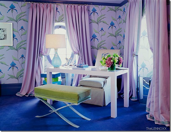 modern-home-office-purple-lilac-blue-and-green-with-purple-curtains-and-blue-lily-wallpaper thelennoxx