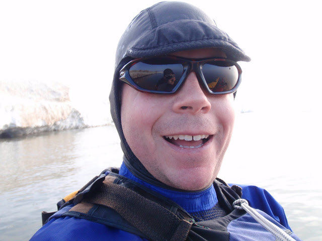 Keith Wikle giddy about kayaking in the ice again.