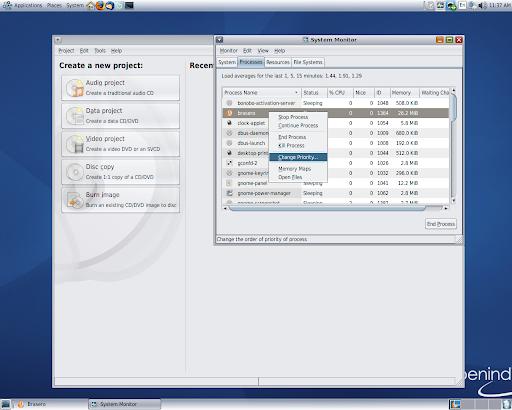 OpenIndiana dev-146 - Sistema de gestión de los procesos (La imagen a tamaño completo: 508KB resolución, 1280x1024 píxeles)