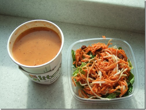 soup and carrot salad