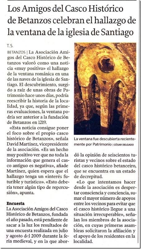"""Recorte do  xornal """"La Voz de Galicia"""" correspondente ao martes 5 de xaneiro de 2010."""