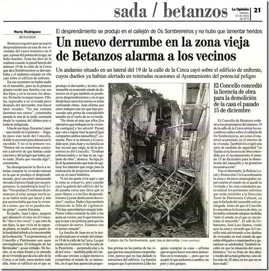 """Recorte do xornal  """"La Opinión"""" correspondente ao sábado 23 de xaneiro de 2010"""