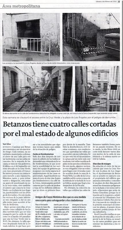 """Recorte do xornal """"El Ideal Gallego"""" correspondente ao sábado 6 de febreiro de 2010"""