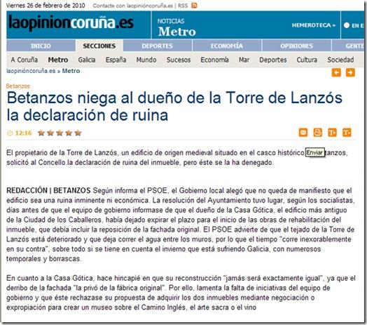 """Nova da edición dixital do xornal  """"La Opinión"""" correspondente ao venres 26 de febreiro de 2010"""