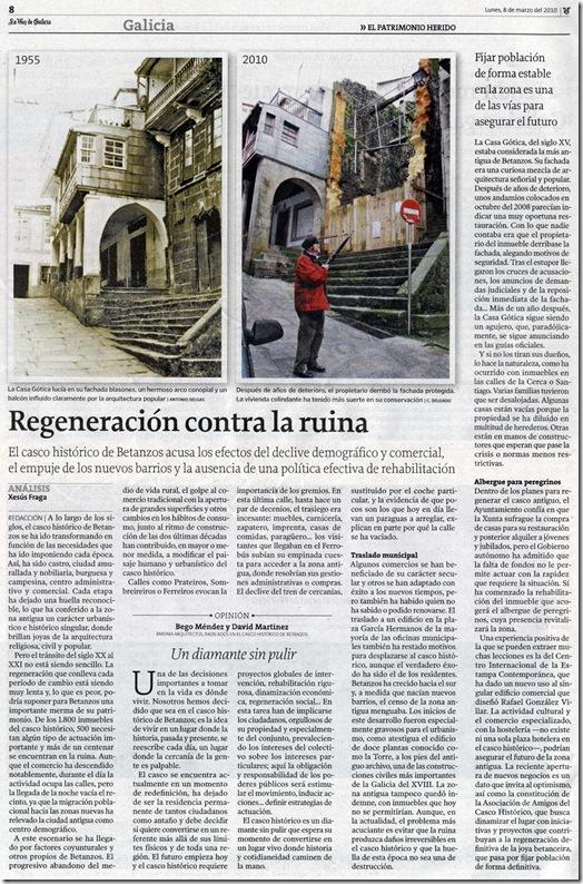 """Recorte do  xornal """"La Voz de Galicia"""" correspondente ao luns 8 de marzo de 2010."""