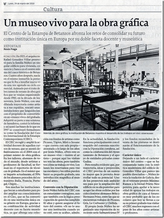 """Recorte do  xornal """"La Voz de Galicia"""" correspondente ao luns 29 de marzo de 2010"""