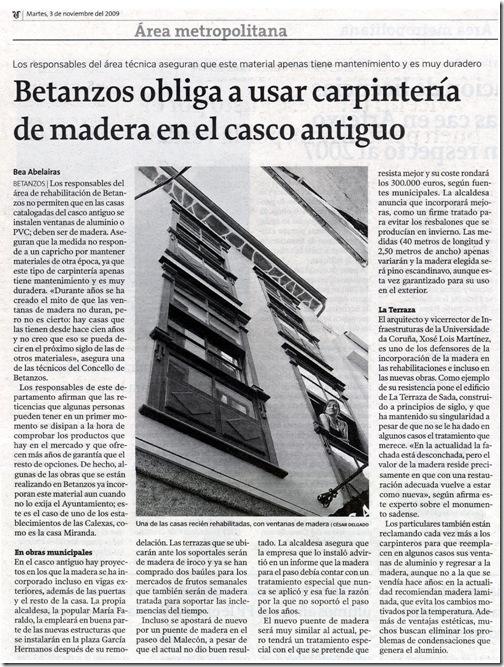 """recorte do xornal """"La Voz de Galicia"""" correspondente ao martes 3 de novembro de 2009"""
