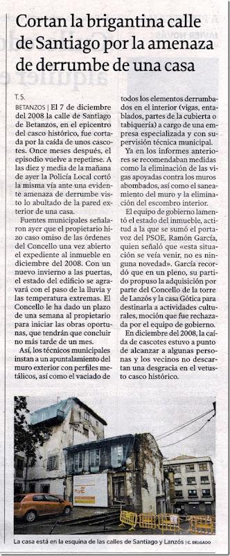 """Recorte do xornal """"La Voz de Galicia"""" correspondente ao 6 de novembro de 2009"""