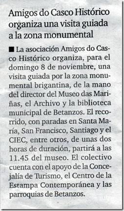 """Recorte do xornal """"El Ideal Gallego"""" correspondente ao xoves 5 de novembro de 2009"""