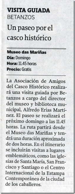 """Recorte do xornal """"La Voz de Galicia"""" correspondente ao venres 6 de novembro de 2009"""