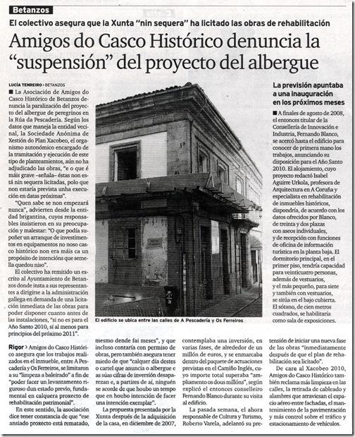 """Recorte do xornal """"El Ideal Gallego"""" do mércores 25 de novembro de 2009"""