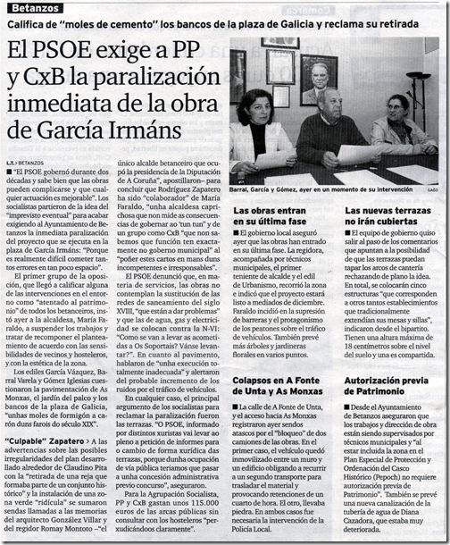 """Recorte do xornal """"El Ideal Gallego"""" correspondente ao mércores, 18 de novembro de 2009"""