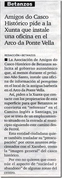 """Recorte do xornal """"El Ideal Gallego"""" do luns 23 de novembro de 2009"""