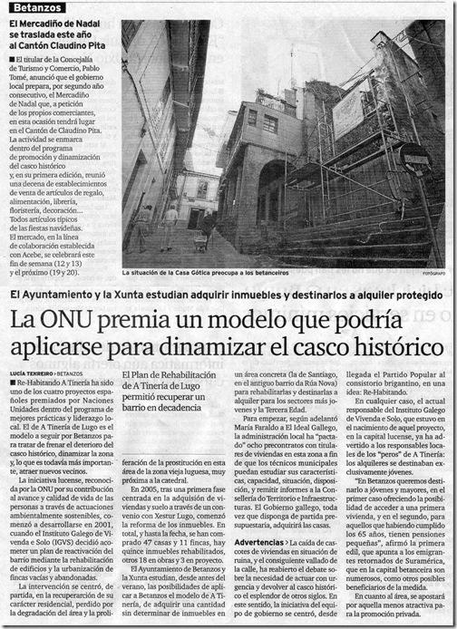 """Recorte do xornal """"El Ideal Gallego"""" correspondente ao mércores 9 de decembro de 2009"""