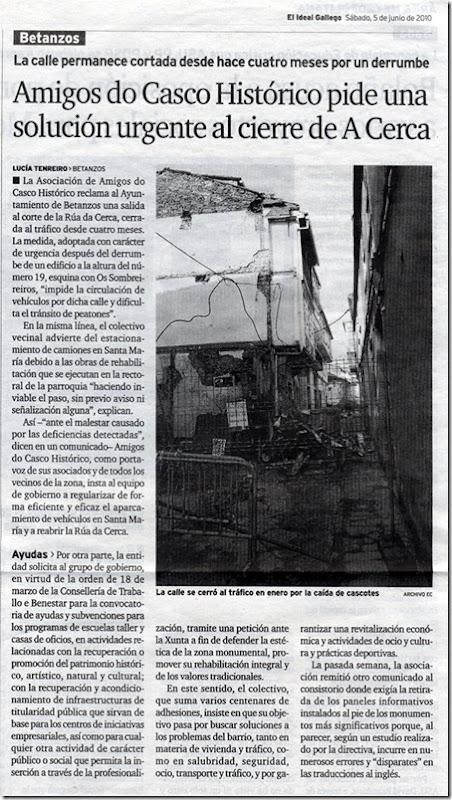 """Recorte do xornal """"El Ideal Gallego"""" correspondente ao sábado 5 de xuño de 2010"""