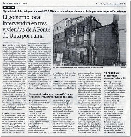 """Recorte do xornal """"El Ideal Gallego"""" correspondente ao mércores 9 de xuño de 2010"""