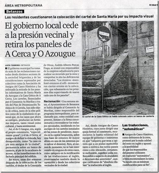 """Recorte do xornal """"El Ideal Gallego"""" correspondente ao martes 15 de xuño de xuño de 2010"""