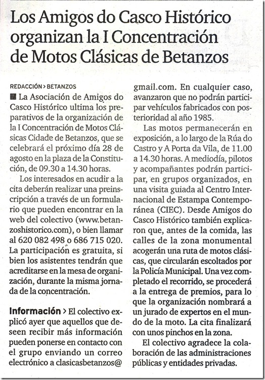 """Recorte do xornal """"El Ideal Gallego"""" correspondente ao xoves 5 de agosto de 2010"""