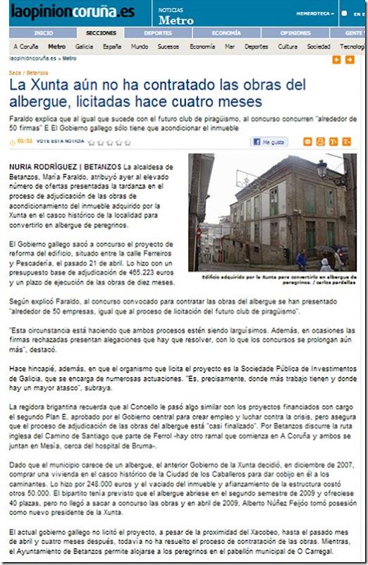 """Recorte da edición dixital do xornal  """"La Opinión"""" correspondente ao domingo 15 de agosto de 2010"""