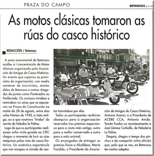 """Recorte do xornal """"Betanzos e a súa Comarca"""" correspondente ao mes de setembro de 2010"""