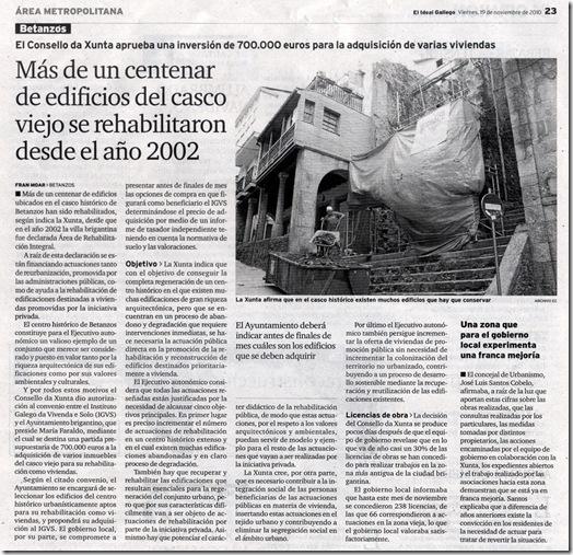 """Recorte do xornal """"El Ideal Gallego"""" correspondente ao venres 19 de novembro de 2010"""