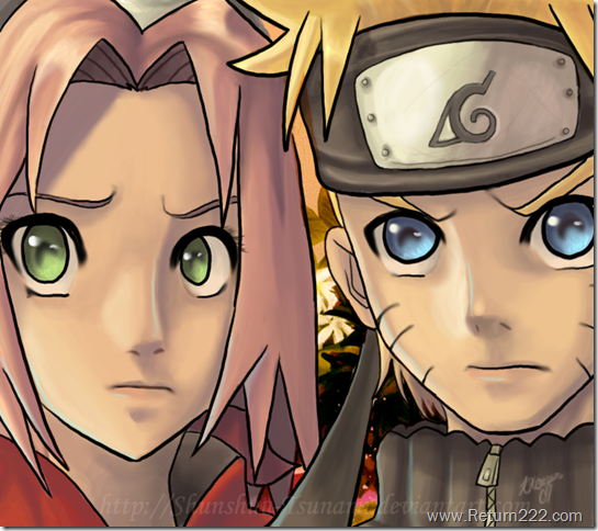 Naruto_and_Sakura_by_Shunshuu_Tsunami