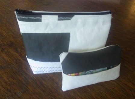 recycled sail cosmetic purse and tissue holder