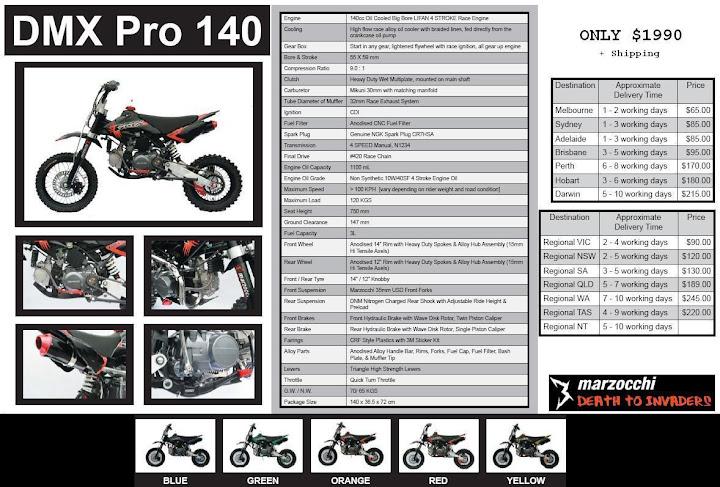 DMX Pro 140cc Specs