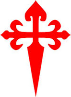 Cross of St James -   The Cross of St. James,, similar to a Cross Flory Fitch, is formed by a Cross Flory, where the lower part is fashioned as a sword blade (fitched)—making this a cross of a warrior. It is most frequently depicted in red
