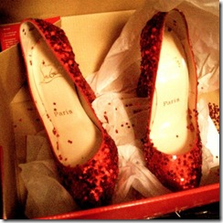 red glitter pumps via dress design &amp; decor