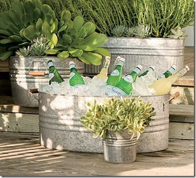 silver- pottery barn galvanized planter