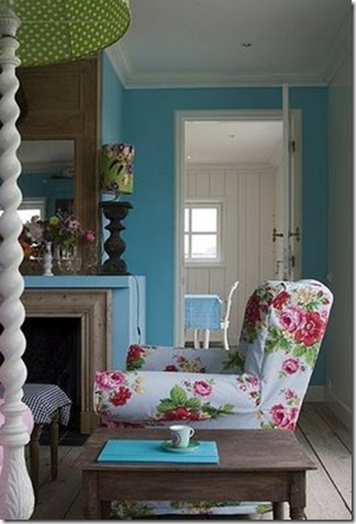 room service blog blue floral chair