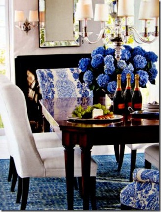 fifi flowers blue and white tablescape via ballard deisgns