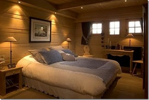 my french country home- chalet bedroom with scalloped skirt 2