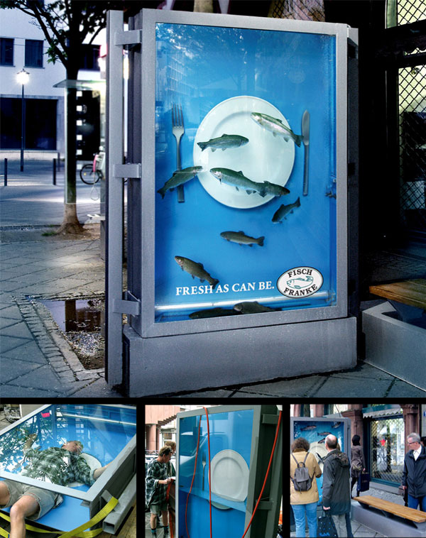 33 cool and creative ambient ads bored panda fisch franke the living poster filled with water and real fish advertising solutioingenieria Choice Image