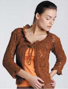 Chaleco Calado tejido a palillo y decoración a crochet